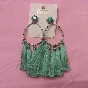 Tourqouis beaded tassel dangly earrings